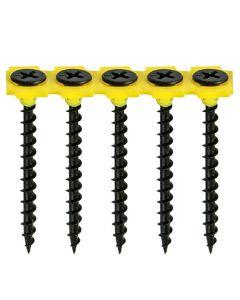 Collated Drywall Screws - Coarse Thread - PH - Bugle - Black - 3.5 x 38
