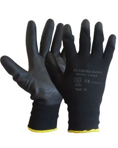 PU Black Polyurethane Coated Inspection Gloves 100BB– Size 10 / Size XL (Pack of 12)