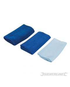 Silverline Microfibre Cloth Cleaning Set 3pce