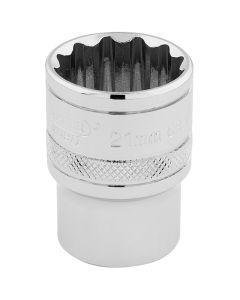 "DRAPER Expert 21mm 1/2"" Square Drive Hi-Torq® 12 Point Socket  33290"