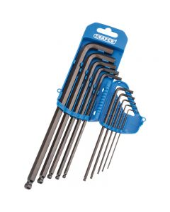DRAPER Extra Long Metric Hexagon and Ball End Hexagon Key Set (10 Piece) 33723