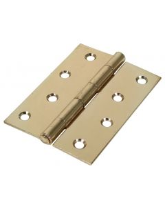 Veto Pair of Butt Hinges - Fixed Pin - Steel - Electro Brass - 100 x 70