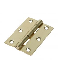 Veto Pair of Butt Hinges - Fixed Pin - Steel - Electro Brass - 63 x 44