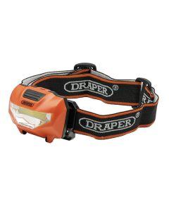 DRAPER 3W COB LED HEAD TORCH (3 X AAA BATTERIES SUPPLIED)