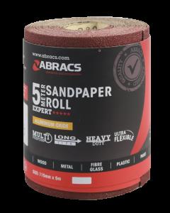 Abracs General Purpose Sandpaper Roll 115mm x 5M x 120G