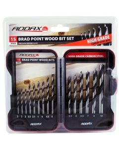 Addax 15pc Brad Point Wood Bit Set In A Case
