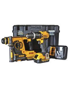 DEWALT SDS & Combi Drill Twin Pack 18V 2 x 4.0Ah Li-ion DCK206M2