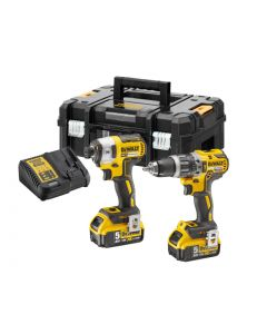 DEWALT XR Brushless Combi Drill & Impact Driver Twin Pack 18V 2 x 5.0Ah Li-ion
