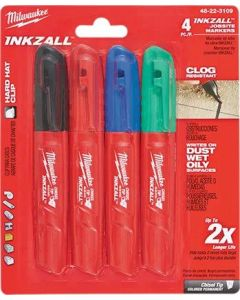 Milwaukee Inkzall Fine Tip Marker Assorted Colours (Pack of 4)