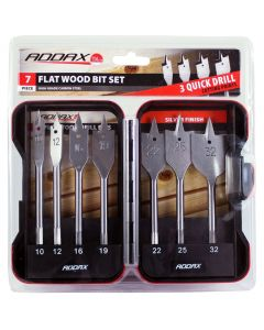 Addax 7pc Flat Wood Bit Set In A Case