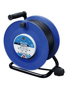 MASTERPLUG 240V 13AMP 50mtr HEAVY DUTY CABLE REELS - FOUR SOCKETS