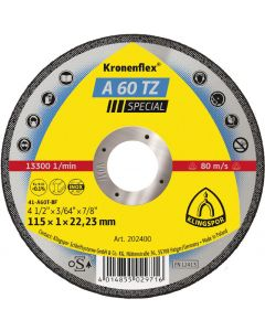 KLINGSPOR 115MM X 1MM X 22.23MM A 60 KRONENFLEX SLITTING DISCS