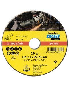 KLINGSPOR 115MM X 1MM X 22.23MM A 60 EXTRA KRONENFLEX SLITTING DISCS – TIN OF 10