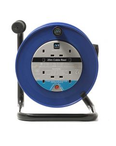 MASTERPLUG 240V 13AMP 25mtr HEAVY DUTY CABLE REELS - FOUR SOCKETS