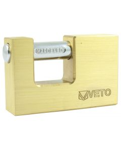 Veto Rectangle Brass Padlock - 75mm
