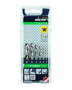 ALPEN 6pcs HSS  COBALT STUB DRILL SET 2 - 8mm